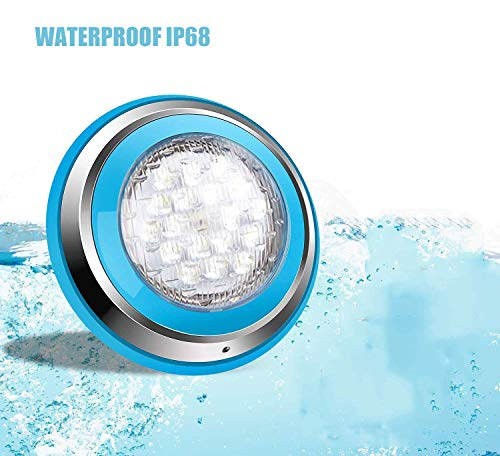 Roleadro Bianco 54W Led Piscina Iluminacion Piscina Led Pool Light IP68 Luz de Piscina para Swimming Pool/Acuario Light Decoración Wall Mounted (DC 12V)
