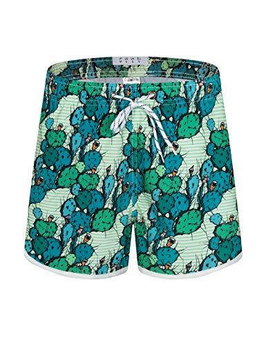 APTRO Damen Badeshorts Kurze Badehose Strand Wassersport Shorts Boardshorts UV Schutz Sommer Shorts Kaktus Grün WS203 M