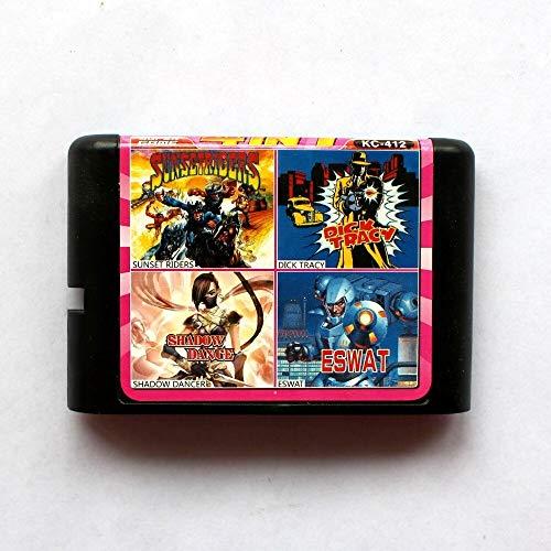 Aditi 4in1 Sunset Riders+Dick Tracy+Shadow Dancer+Eswat 16 bit SEGA MD Game Card For Sega Mega Drive For Genesis