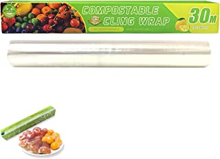 Compostable Plastic Wrap with Quick Slide Cutter Biodegradable Cling Wrap for Food, Leak-Proof BPA-Free Eco-Friendly Plast...