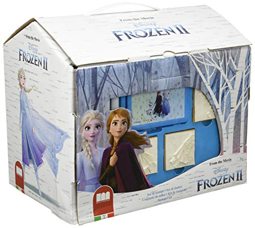 Multiprint Casetta 7 Timbri per Bambini Disney Frozen 2, 100% Made in Italy, Set Timbrini Bimbi Personalizzati, in Legno e Gomma Naturale, Inchiostro Lavabile Atossico, Idea Regalo, Art.09981