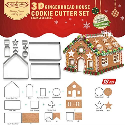 Pannow 10Pcs 3D Casa Di Pan Di Zenzero In Acciaio Inox Scenario Di Natale Biscotti Tagliabiscotti Set Muffa Del Biscotto Fondente Taglierina Strumento Di Cottura (Nastro)