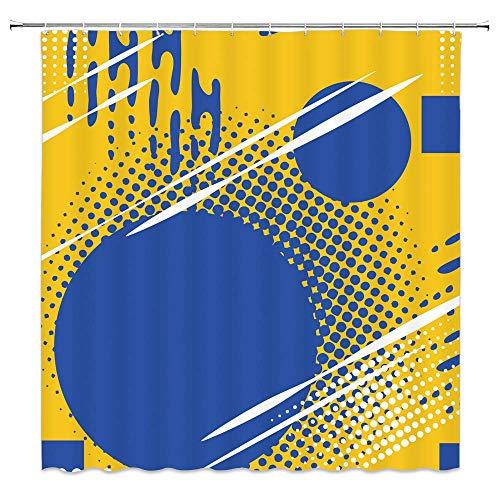 N\A Blume Duschvorhang Dekor Sommer Lotus Blume Knospe Ölgemälde Druck Ppink Gelbgrün Stoff Badvorhänge Badzubehör Wasserdichtes Polyester mit Kunststoffhaken