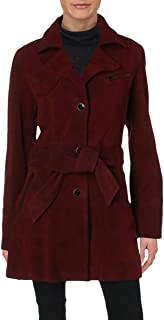 Womens Agent 99 Suede Long Sleeves Pea Coat