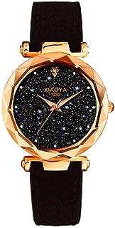 Binmer (TM) Fashion Quartz Watch Starry Sky Multicolor Leather Wrist Watch Simple for Women Girl Gifts (Black)