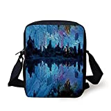 Natural Cave Decorations,Illuminated Reed Flute Cistern with Artifical Crystal Palace Myst Cave Image,Blue Print Kids Crossbody Messenger Bag Purse