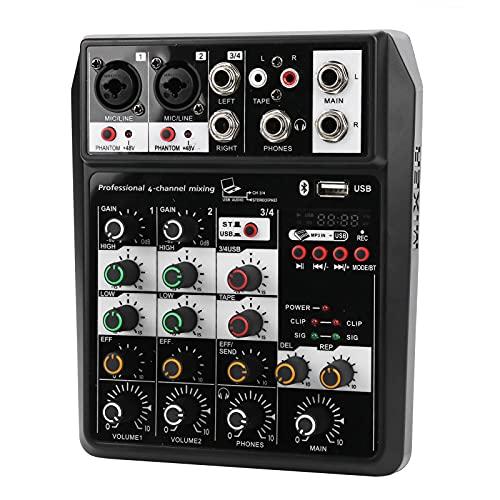 Consola mezcladora de sonido, múltiples fuentes de alimentación Consola mezcladora de tarjetas de sonido 4 canales para el hogar