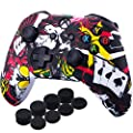 YoRHa Printing Rubber Silicone Cover Skin Case for Xbox One S/X Controller x 1(Poker) with PRO Thumb Grips x 8