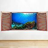 S556 acuario peces Coral mar océano ventana pared calcomanía 3D arte pegatina vinilo habitación