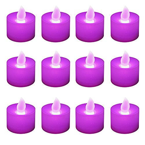 Lumabase 80112 12 Count Battery Operated Tea Lights, Purple