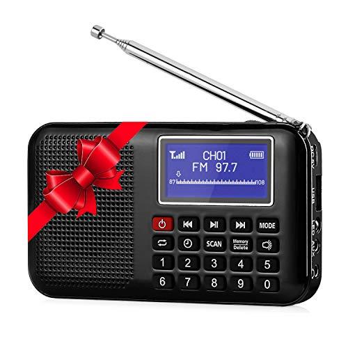 Raddy RF28 Portable FM Pocket Radio Speaker MP3 USB Music Player, Digital Tuning with Flashlight, Sleep Timer, Support TF Card (Black)