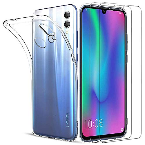 iLieber kompatibel mit Huawei Honor 10 Lite Hülle+ Panzerglas, [1 Handyhülle+ 2 Bildschirmschutzfolie] Schutzhülle TPU Silikon Case Cover Schutzfolie Glas [ 9H Härtegrad] [ Ultra Klar] [ Anti- Kratzen]