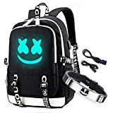 Cozyonme Smile Luminous Backpack with USB Charging Port & DJ Bracelet, School Laptop Backpack DJ Music Student Daypack Travel Bag Rucksack, Black, Large