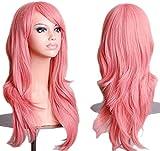 Pelucas de color rosa de 71 cm para mujeres y niñas de pelo completo rizado anime Cosplay Halloween disfraz fiesta peluca sintética