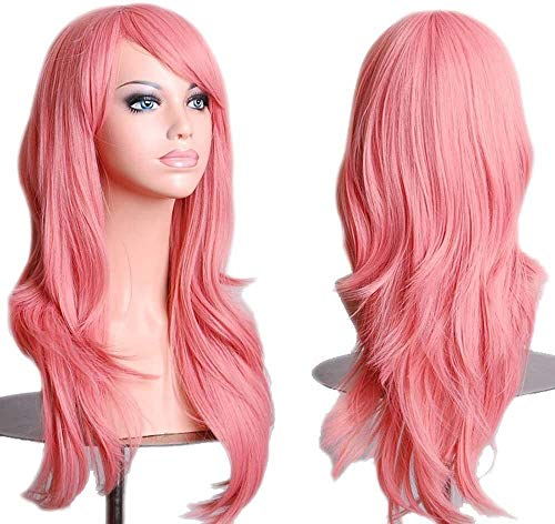 """28"""" Long Pink Wigs for Women Girls Curly Full Hair Anime Cosplay Halloween Costume Party Synthetic Wig"""