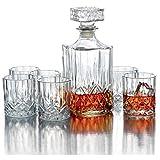 OPERA Set Whisky Bottiglia per Whisky e bicchieri, 7 Pezzi, Trasparente...