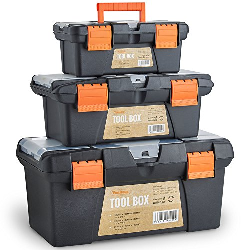 VonHaus Tool Boxes - Portable Tool Box Storage Set x3 10' 13' 16' Small/Medium/Large