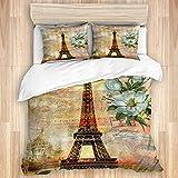Funda nórdica, Vintage Paris Torre Eiffel Flor Retro Sello Floral Blanco Romance Ciudad Creatividad Francia Paisaje Europeo, Juego de Cama de Calidad Ultra suavidad Diseño Moderno