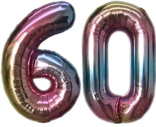 TopTen Folienballon Zahl 60 Bunt XL ca. 72 cm hoch - Zahlenballon / Luftballon für Geburstagsparty, Jubiläum oder sonstige feierliche Anlässe (Nummer 60)