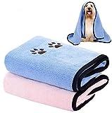 Legendog Hundehandtuch, 2 Stück Haustier Badetuch Großer Weich Microfiber Schnelltrocknend Warm Haustierhandtuch mit badebürste für Hunde Katzen 90*50cm