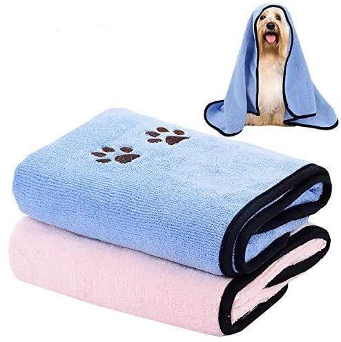 Legendog Toalla para Perros, 2 Piezas Toalla del mascotas 90*50cm Toallas de Microfibra para Secar Mascotas Toallas de Baño para Perros Toallas Absorbentes para Mascotas