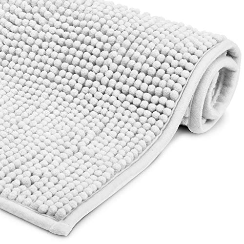 Beautissu Badematte rutschfest 50x80 cm - BeauMare WR Chenille Badezimmerteppich für Fußbodenheizung geeignet - Flauschiger Badvorleger für Dusche, Badewanne und WC in Weiß