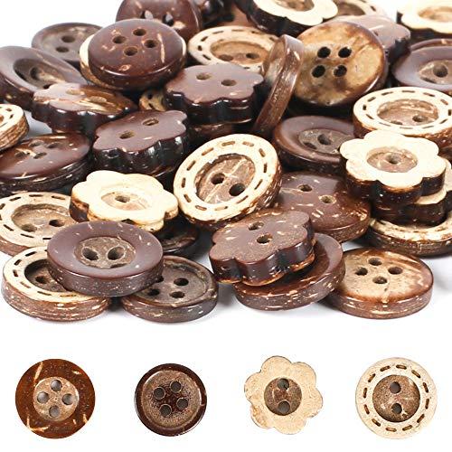 Botones Madera de Colores Surtidos FOGAWA 120pz Botones Costura para Ropa de Niños Botón Retro de Flores Formas Redondas con 2/4 Agujero para Coser Manualidades DIY Decoraciones (11, 12, 13 mm