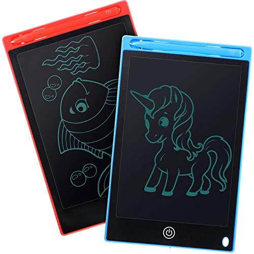 2 Stücke LCD Doodle Board Zeichenblock, 8,5 Zoll LCD Schreibtafeln, Elektronischer Zeichentablett mit Sperrfunktion, Lern- und Lernspielzeug für Jugendliche zu Hause und in der Schule (blau und rot)