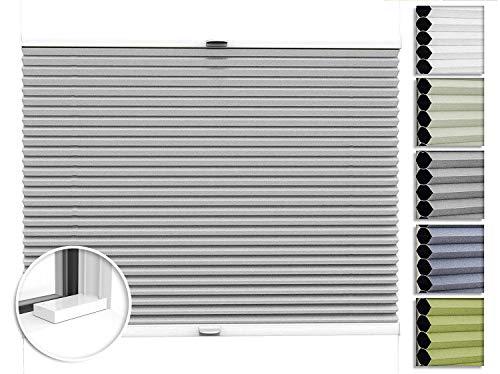 Home-Vision® Premium Doppelplissee Wabenplissee nach Maß, zum Anschrauben Blickdicht Zweifarbig Jalousie zum Bohren, Verschiedene Profilfarben (Weiß-Grau, B71-80cm x H101-150cm)