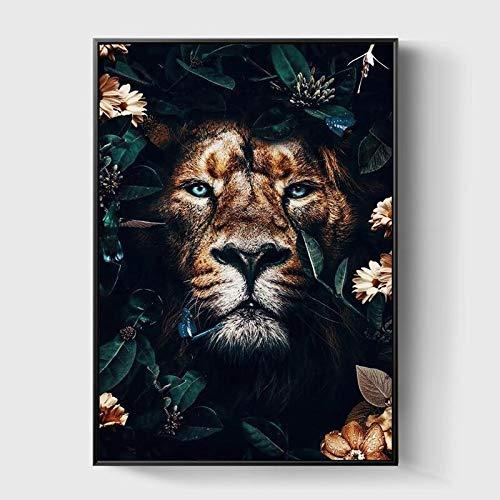 JXMK Flor Animal León Tigre Ciervo Leopardo Lienzo Abstracto Pintura Mural Cartel nórdico decoración Sala de Estar 40x50cm