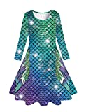 Funnycokid Girls Long Sleeve Twirl Party Sundresses Green Mermaid Tail Dress for Daddy Daughter Dance Age 8-9