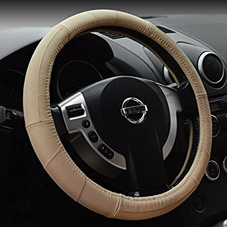 Yopria Prämie Fahrzeug Lenkradabdeckung Auto Lenkradschutz Universal Durchmesser 38cm 15 Echtleder Auto