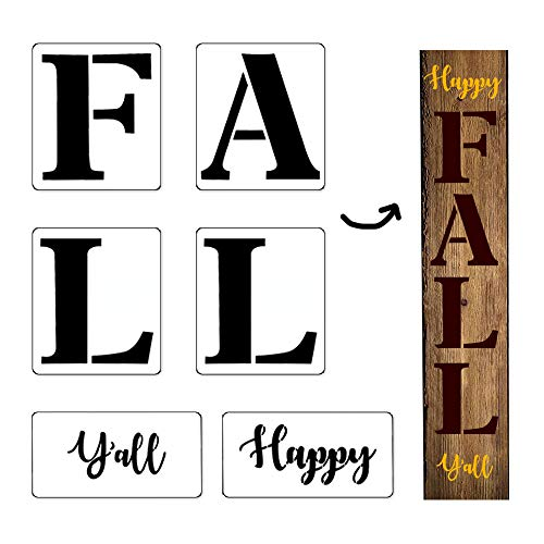 6Pcs Happy Fall Y'all Thanksgiving Reusable Porch Stencil Kit,Mold Kit for Painting Your Own Wooden Sign, Sturdy and Durable, Craft Art Painting Spray, Window, Glass, Wood, Airbrush,Chalk and Wall Art