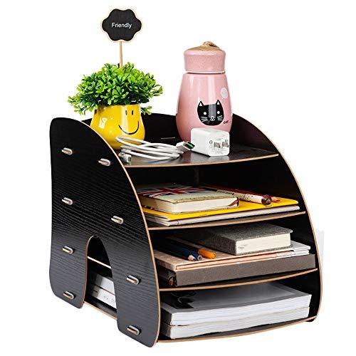 Portadocumenti A4, organizer da tavolo, 4 scomparti, in legno, stabile, per riviste e ufficio, per il fai da te