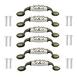 Tirador de puerta de cerámica de aleación de bronce para armario, armario, mango de gabinete de bronce, paquete de 6