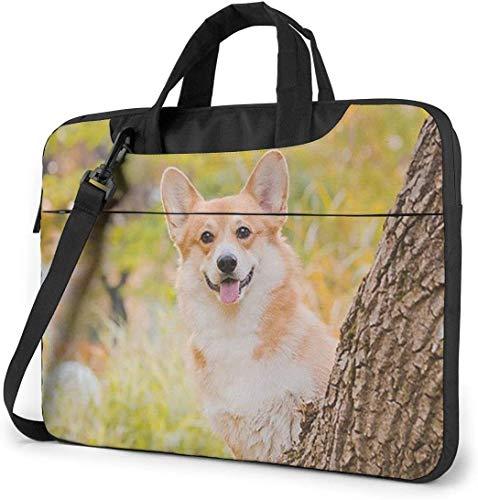 Happy Corgi Laptop Sleeve Bag Carrying Case with Handle and Adjustable Shoulder Strap Business Travel Bag
