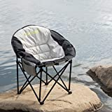 STAOLENE Moon Round Saucer Chair Camping Chair with External Pocket,Carry Bag,Portable Stable Padded Sofa Chair for Hiking(Black)