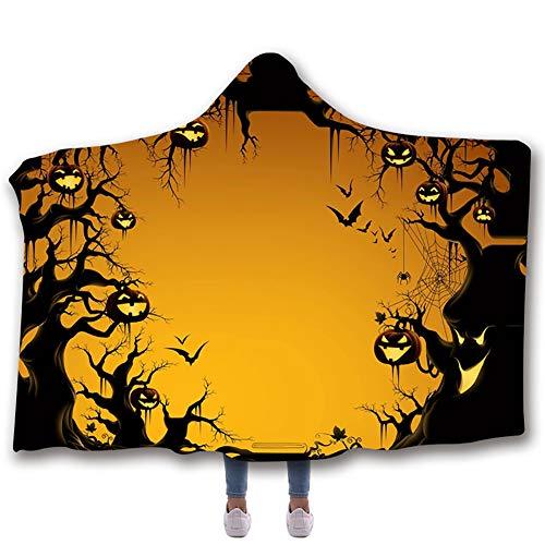Manta con capucha de halloween capa impresa digital de halloween3d capa doble engrosada,G,150 * 200cm