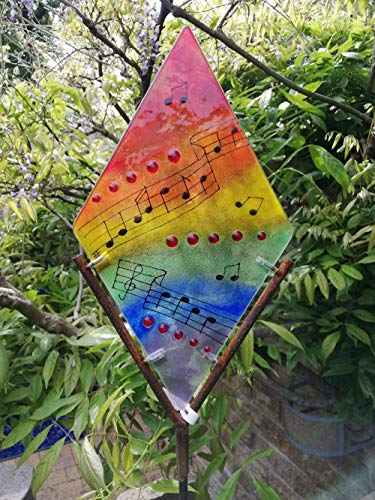 Gartenskulptur Gartenstele Musik Glas und Metall
