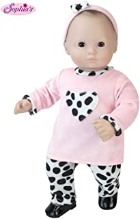 Sophia's 15 inch Doll Clothing 3 Pc. Set of Pink and Dalmatian Print Fits 15 Inch American Girl Bitty Baby Dolls & More! Baby Doll Clothes Set with Dalmatian Print Gift Bag Included