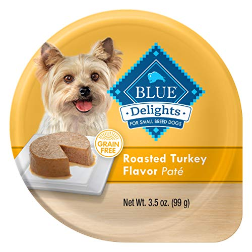 Blue Buffalo Delights Natural Adult Small Breed Wet Dog Food Cup, Roasted Turkey Flavor in Savory Juice 3.5-oz (Pack of 12)