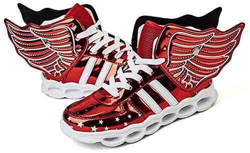 ONEKE LED Leuchten Schuhe Turnschuhe Laufschuhe für Kinder Jungen Mädchen 4 Farben Blinkende Flügel Sportschuhe (EU 26, Rot)