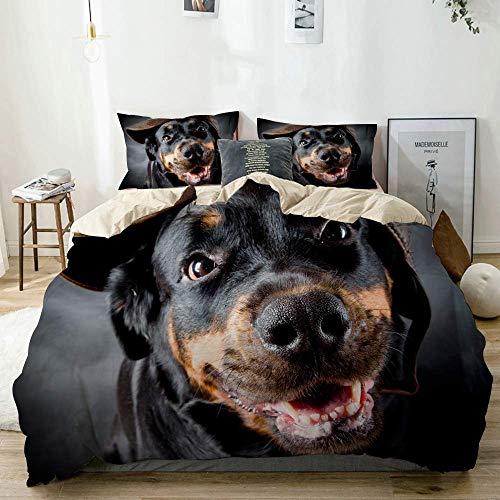 Funda nórdica Beige, Hembra de Perro de Raza Rottweiler con Gorra, Juego de Cama de Microfibra Impresa de Calidad de 3 Piezas, diseño Moderno con suavidad y Comodidad