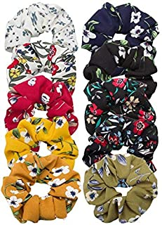 Cubaco 10 Pack Hair Scrunchies Women Flower Chiffon Hair Scrunchy Hair Bobbles Scrunchy Hair Ties Ponytail Holder for Girls Women, 10 Colors