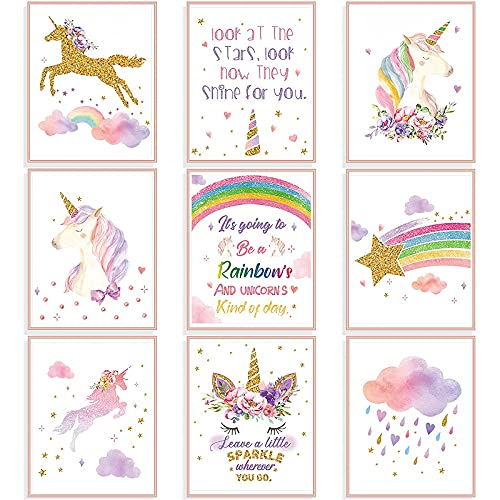 9 Stücke Einhorn Regenbogen Wandkunst Drucke ungerahmt Aquarell Einhorn und Regenbogen Poster für Mädchen Kinder Schlafzimmer Kinderzimmer Dekorationen