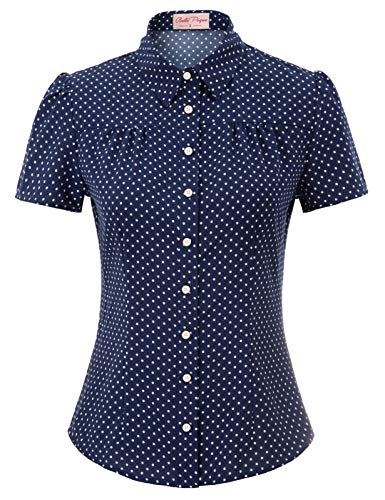 50er Jahre Tops Vintage Retro T-Shirt Navyblau Kurzarm Polka dots Oberteil Bluse XL BP870-2