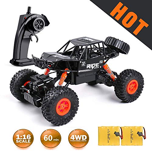 Remote Control Car,1:16 Off Road Remote Control Truck with Two Rechargeable Batteries, 2.4Ghz 4WD All Terrain Rc Truck as Cool Birthday Gifts for Boys & Girls Age 4 5 6 7 8 9 10 11 12
