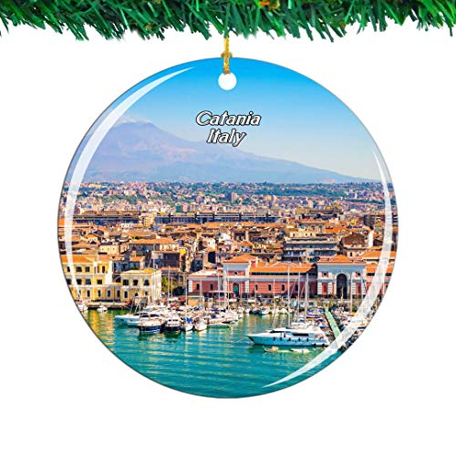 Weekino Italy Mount Etna Catania Sicily Christmas Ornament City Travel Souvenir Collection Double Sided Porcelain 2.85 Inch Hanging Tree Decoration
