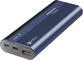 Promate 20000mAh USB-C Power Bank, Ultra-Fast Qualcomm QC 3.0 External Battery Pack with 18W USB-C In/Out Power Delivery P...
