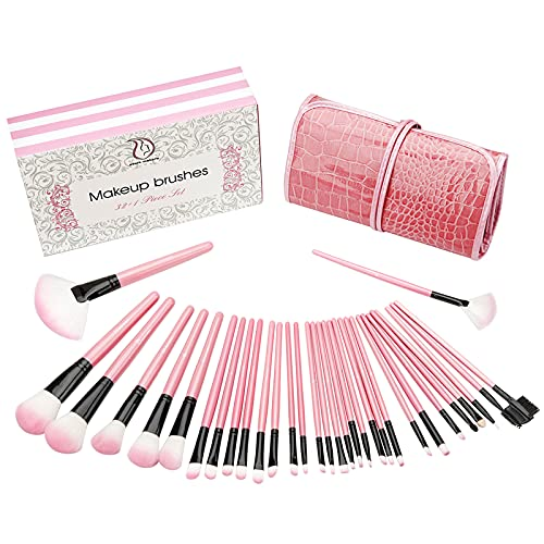 Brochas de maquillaje de Start Makers, brochas profesionales de color rosa, cosméticos esenciales (32+ 1piezas)